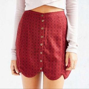 Urban Outfitters scalloped hem mini skirt red
